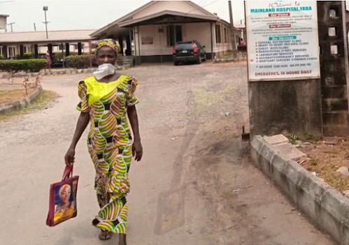 Nigerian woman walked into yaba Mainland Hospital, one of the Coronavirus centre for treatment in Lagos Nigeria.