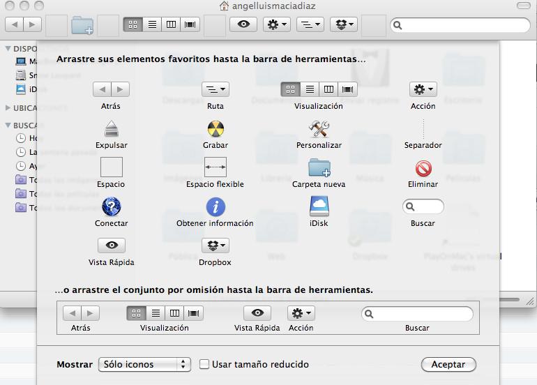 Editar barra de herramientas finder