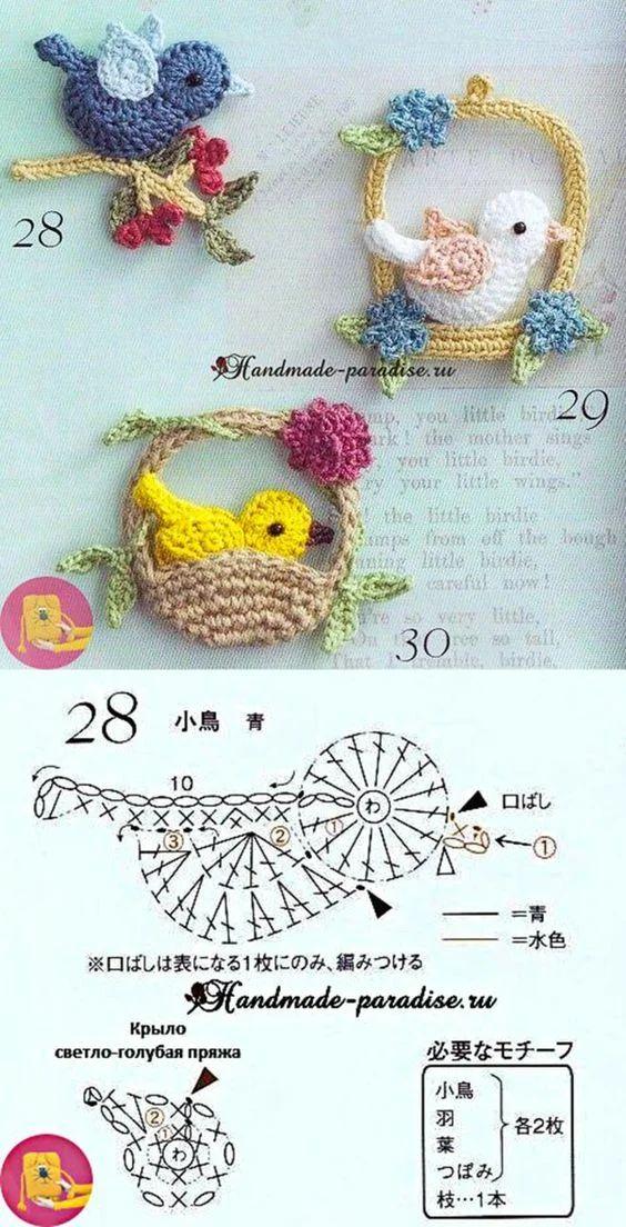 Wiosenne aplikacje na szydełku ptaszki, domki, serca, kwiaty na szydełku - 200 SCHMETÓW I WZORÓW