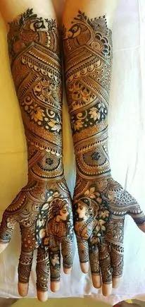 front full hand easy mehndi design
