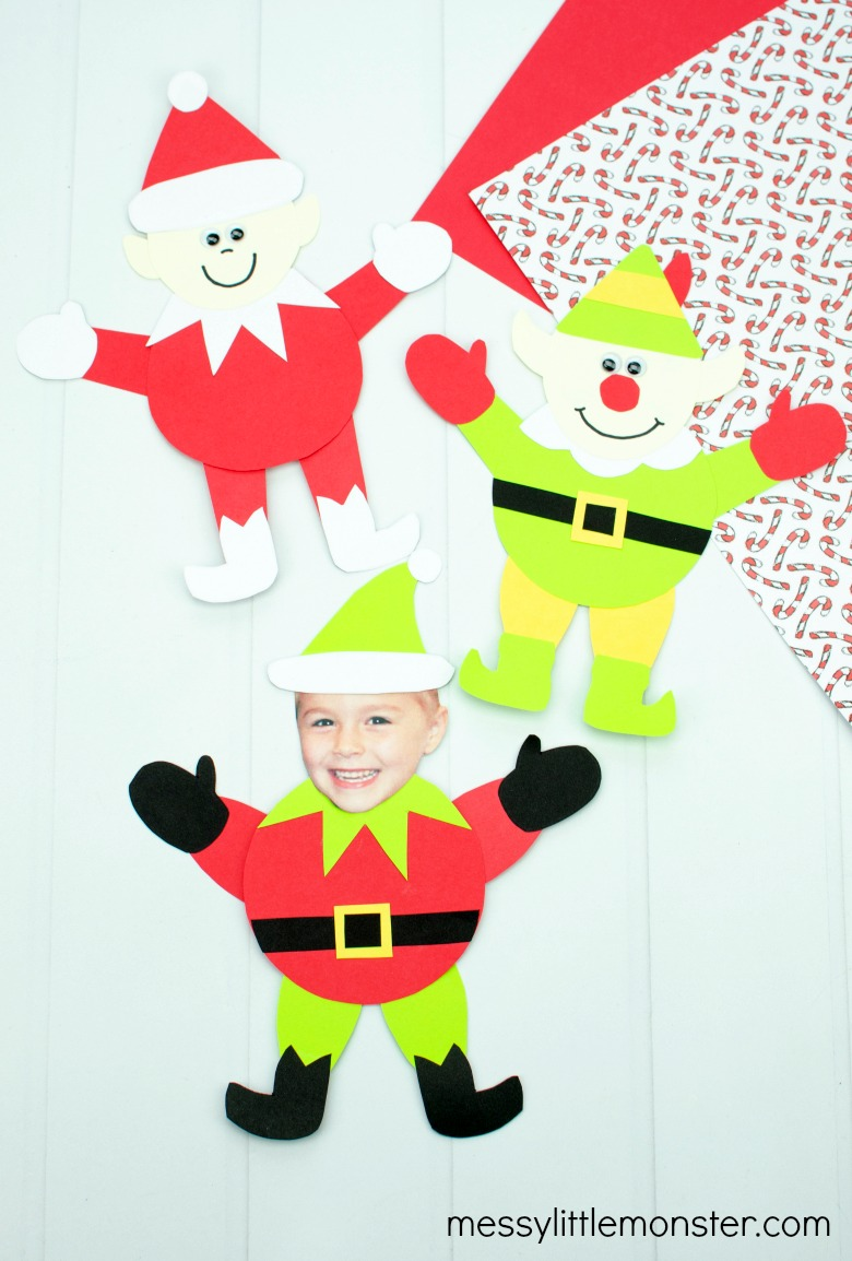 paper elf craft with elf template