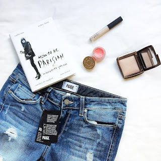Paige Denim Distressed Skinny Jeans and How to be Parisian flatlay