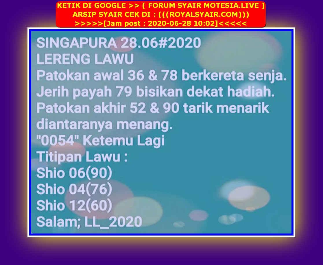 Kode syair Singapore Minggu 28 Juni 2020 46