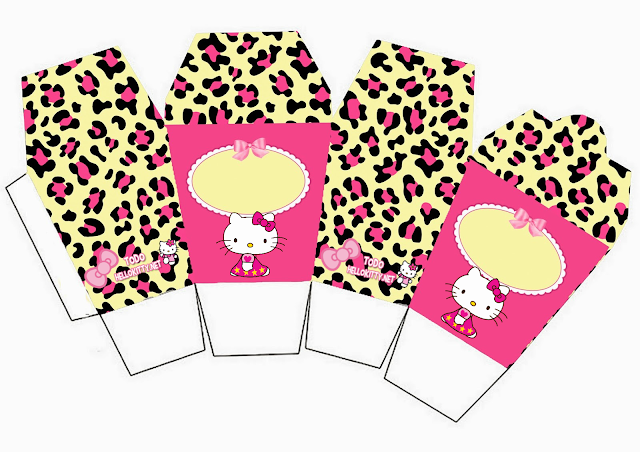 Hello Kitty con Fondo de Leopardo. Mini Kit para Imprimir Gratis.