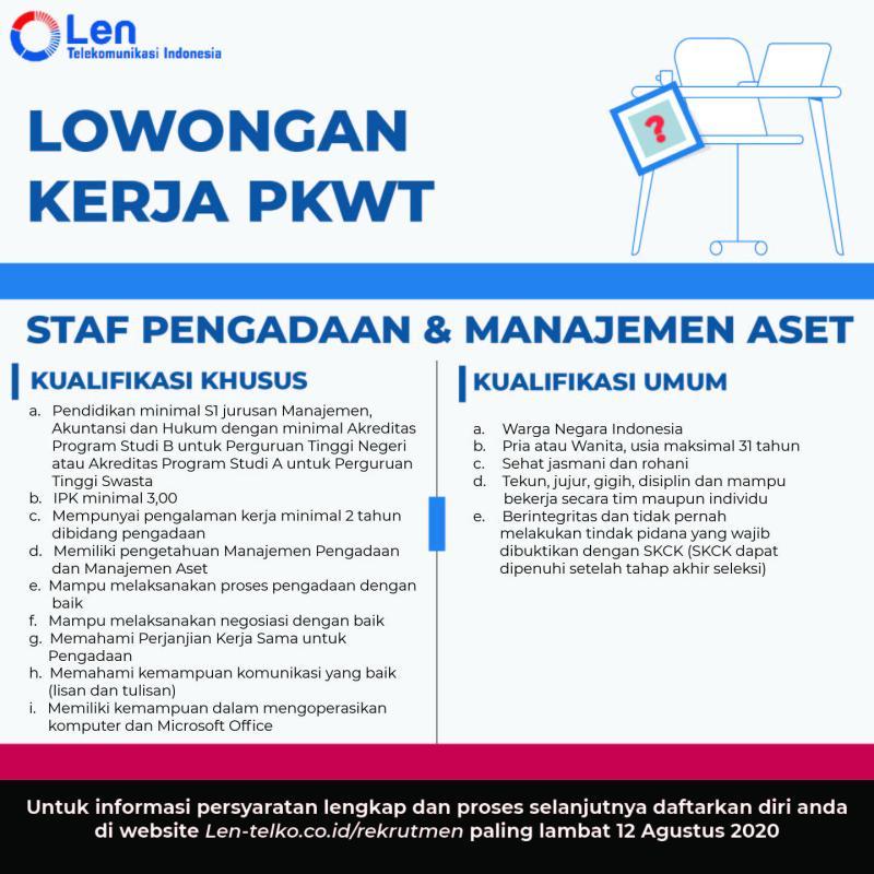 Lowongan Kerja PT Len Telekomunikasi Indonesia Bulan Agustus 2020