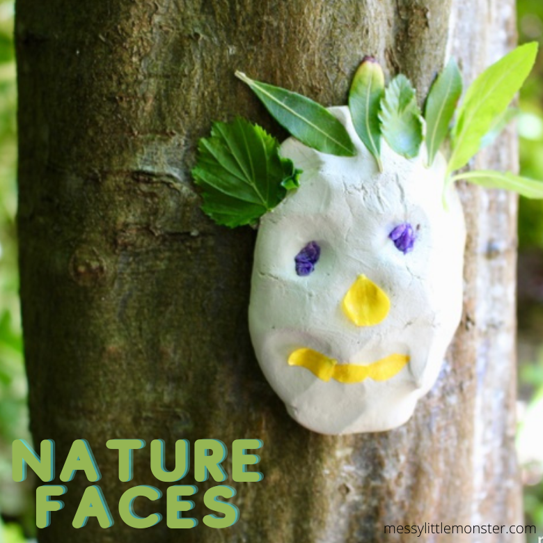 clay faces nature crafts for kids