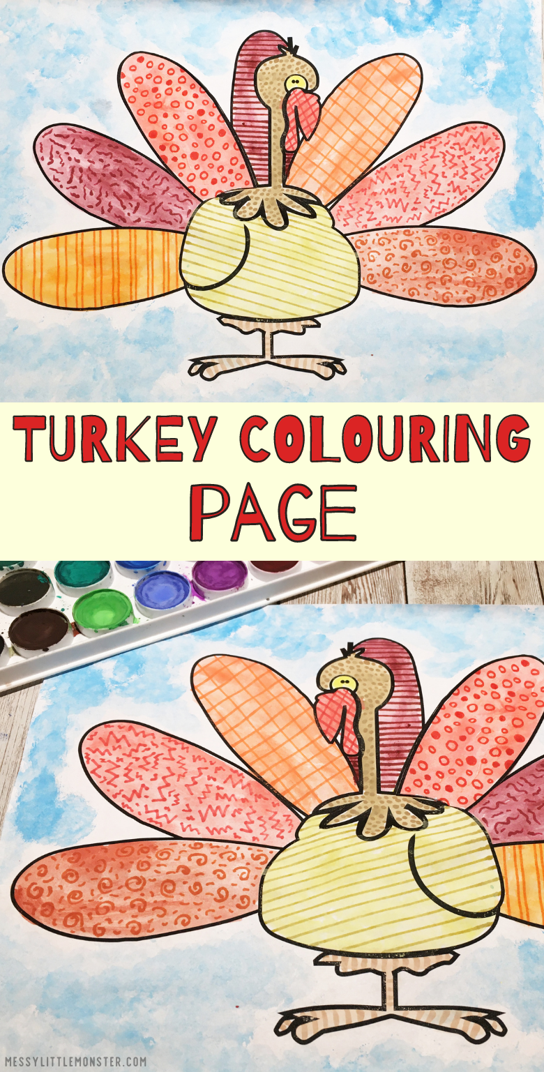 Turkey colouring page. Printable Thanksgiving colouring page and turkey zentangle art.