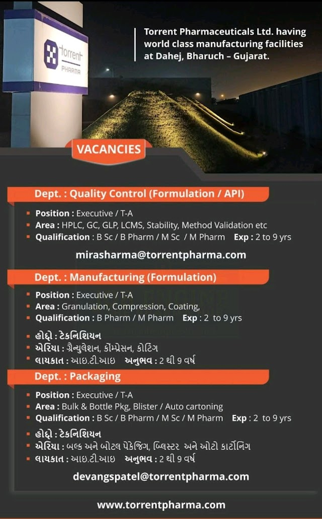 Torrent Pharma | Urgent openings in Production/QC/Packing | Send CV