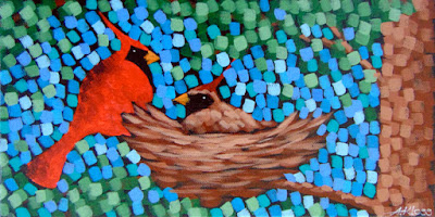 Cardinals in Spring painting by artist painter aaron kloss, cardinal nest painting, spring song bird painting, pointillism, duluth mn art, duluth mn painter