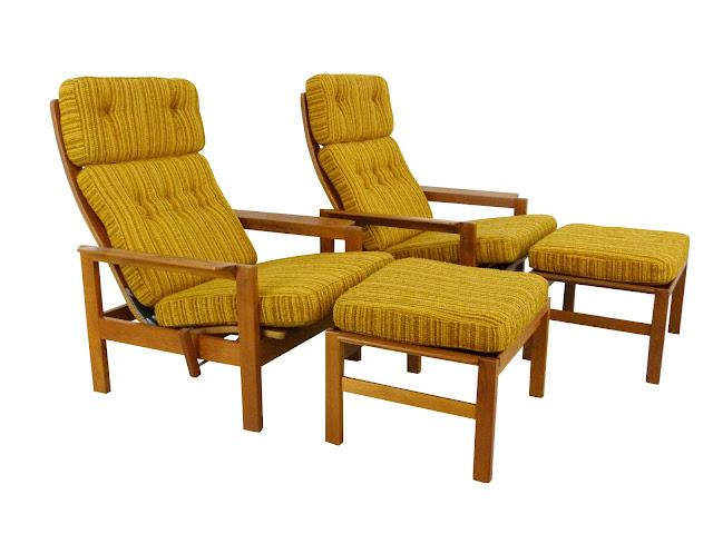 Vintage Danish Modern Teak Reclining Lounge Chairs w/ Ottomans