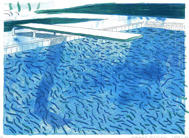 David Hockney, swimming pool in blue with a diving board