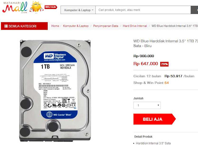 Update Harga Hardisk Internal PC
