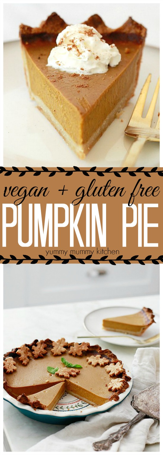 This delectable vegan and gluten free pumpkin pie is made with a dairy free, egg free, coconut milk filling and almond flour crust!