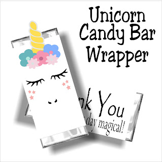 Say thank you at your Unicorn party with this fun candy bar wrapper printable. You will love this cute unicorn face and your guests will love this party favor and party thank you.