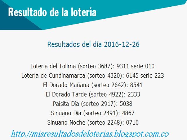 Como jugo la Loteria hoy-Diciembre 26 2016