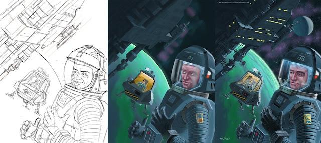 M P davey space exploration green planet digital illustration