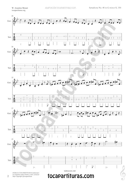Hoja 4 Guitarra Tablatura y Partitura de Sinfonía Nº 40 Punteo Tablature Sheet Music for Guitar Tabs Music Scores PDF y MIDI aquí  Vídeo