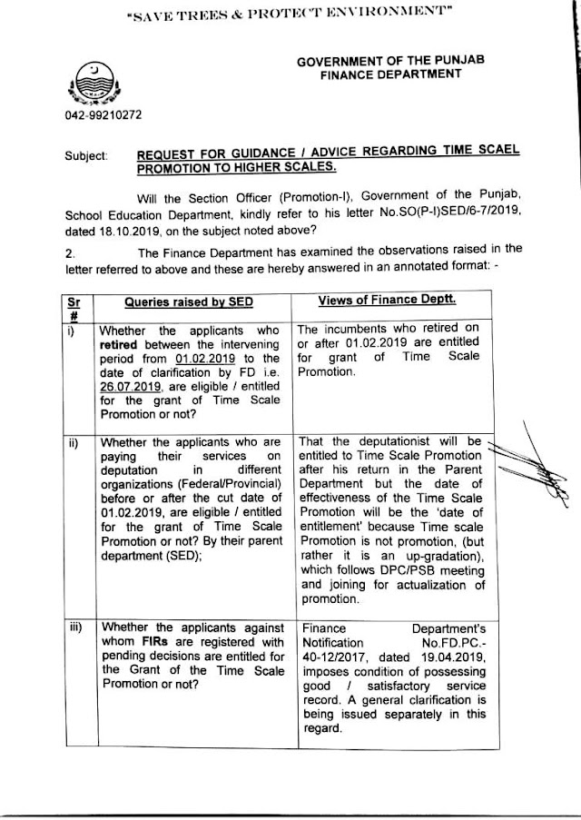 VIEWS OF FINANCE DEPARTMENT ON QUERIES RAISED REGARDING TIME SCALE PROMOTION TO HIGHER SCALES