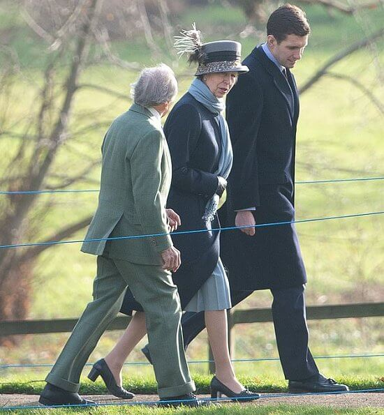 The Queen wore a bright orange jacket and a furry black hat, while Princess Anne donned a  navy coat.  Dame Kiri Te Kanawa