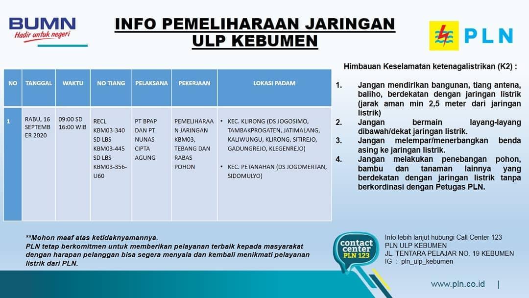 Hari ini, PLN ULP Kebumen juga Melakukan Pemadaman, Ini  Wilayah yang Tedampak