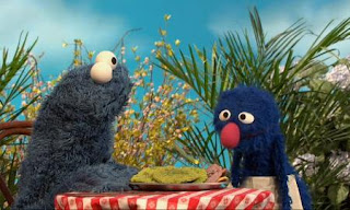Cookie Monster becomes a customer of Grover's restaurant. This is a veggie cookie restaurant. Sesame Street C is for Cooking
