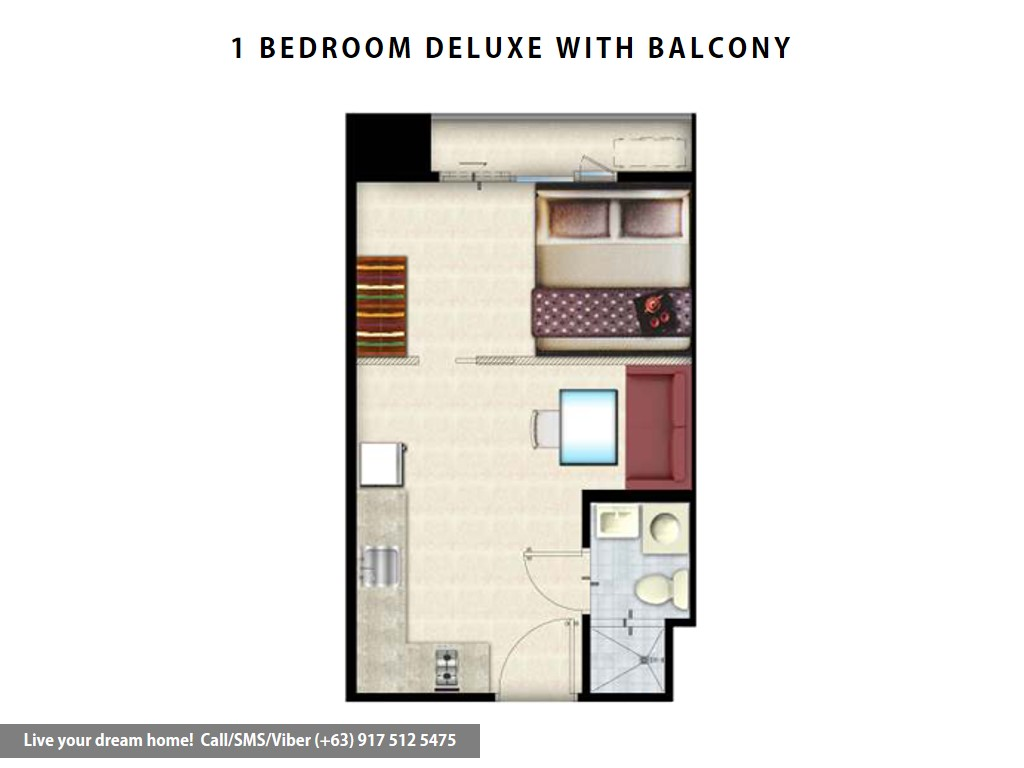 Floor Plan of SMDC Grace Residences - 1 Bedroom Deluxe With Balcony | Condominium for Sale Taguig