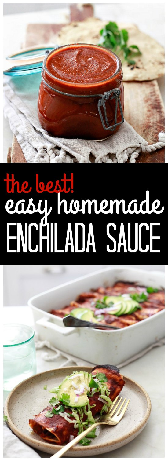 Find out how to make the best easy enchilada sauce ever! This red enchilada sauce recipe uses a few simple ingredients that get puréed in the blender for delicious traditional Mexican flavor. This easy recipe is vegan and gluten-free.