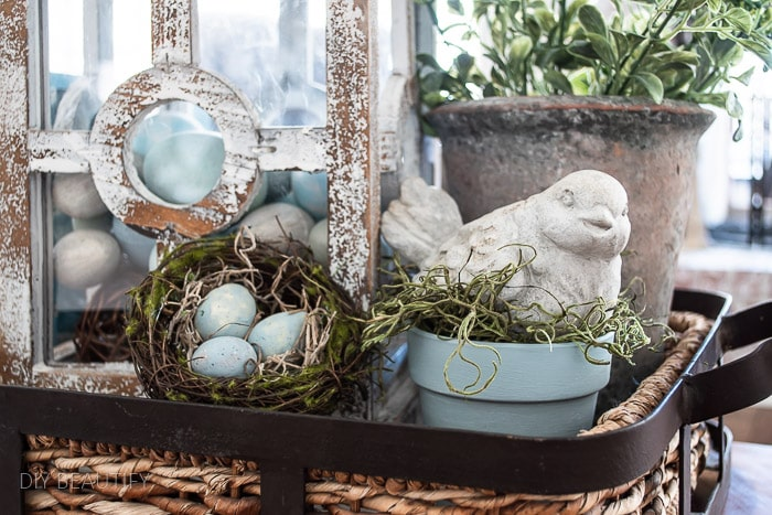 neutral Spring vignette with blue
