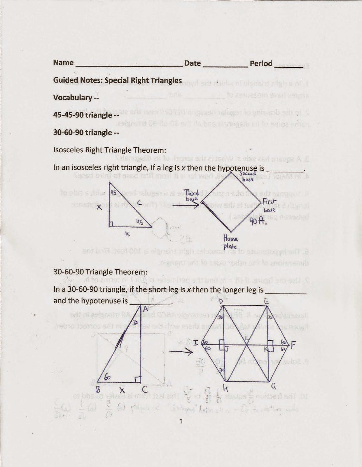 Geometry Common Core Style Section 14 1 Special Right