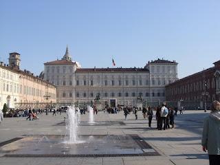 Turin's Palazzo Reale on sunny Piazza Castello
