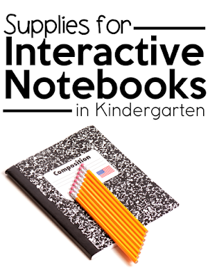 """This is a title graphic for a blog post that says, """"Supplies for Interactive Notebooks in Kindergarten."""""""