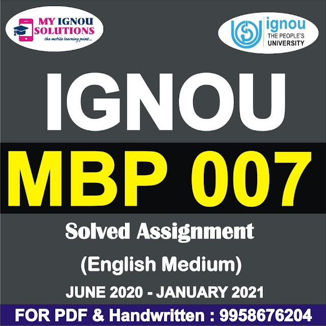 MBP 007 Solved Assignment 2020-21