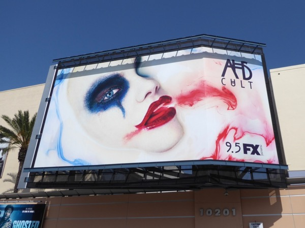 AHS Cult clown makeup billboard