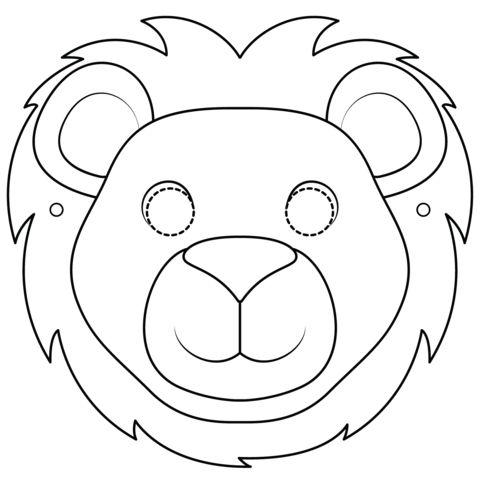 Tranh tô màu mặt nạ sư tử