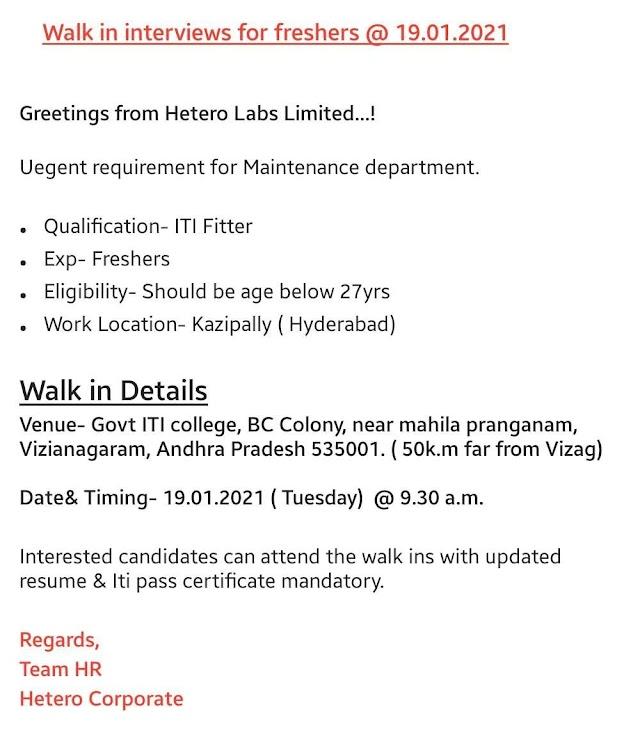 Hetero Labs   Walk-in interview for Freshers on 19th Jan 2021 at Vizianagaram