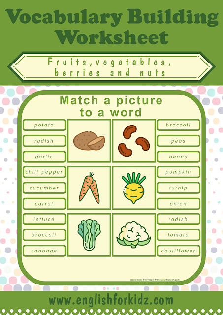 Printable vegetables worksheet