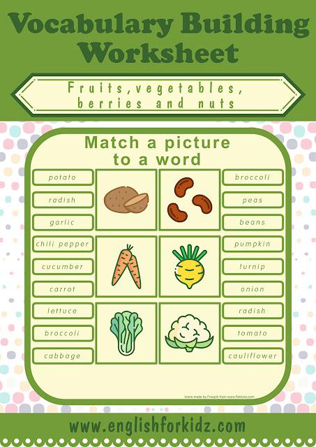 Printable vegetables worksheet
