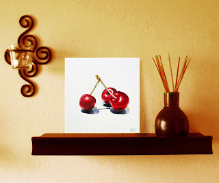 Watercolor Cherries Painting on Aquabord artist Irina Sztukowski