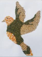 ilustrasi lukisan burung dari biji-bijian