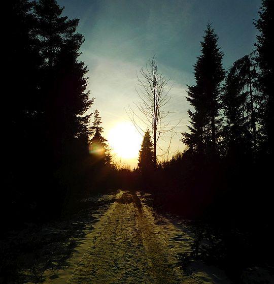 Na przedłużeniu dróżki słońce uderzające blaskiem w twarz zbliża się do górskiego horyzontu.