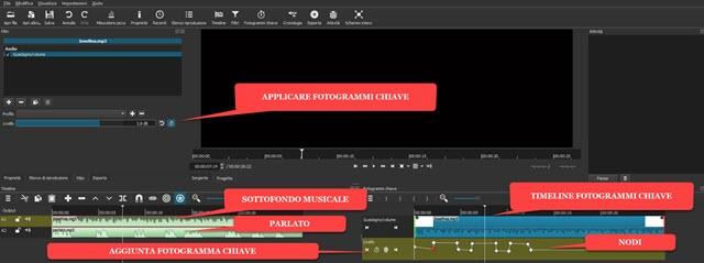 applicare fotogrammi chiave a clip audio