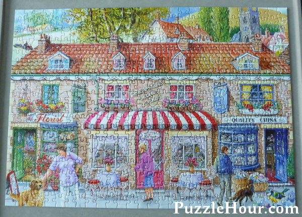 HOP The House of Puzzles Friday Street Jigsaw Puzzle by Ray Cresswell Shops Florist Tea teashop