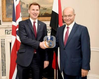 صالح يلتقي وزير الخارجية البريطاني ويؤكد حرصه على تعزيز التعاون المشترك في المجالات كافة