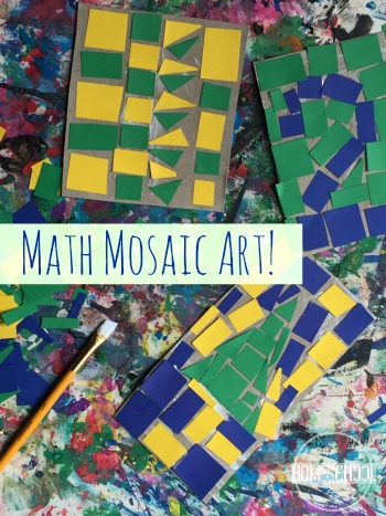 Math Mosaic Art is a fun kids activities to help kids explore making fun art projects for kids while incorporating some fun math for a perfect summer activities for kids and educational activities all in one preschool, kindergarten, first grade, second grade, third grade, 4th grade, and 5th grade kids