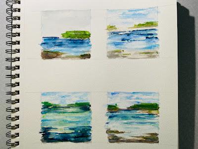 Fused Glass Abstract Landscape Wave Ocean Water Ornament Sharon Warren Glass FlutterbyButterfly Watercolor Painting