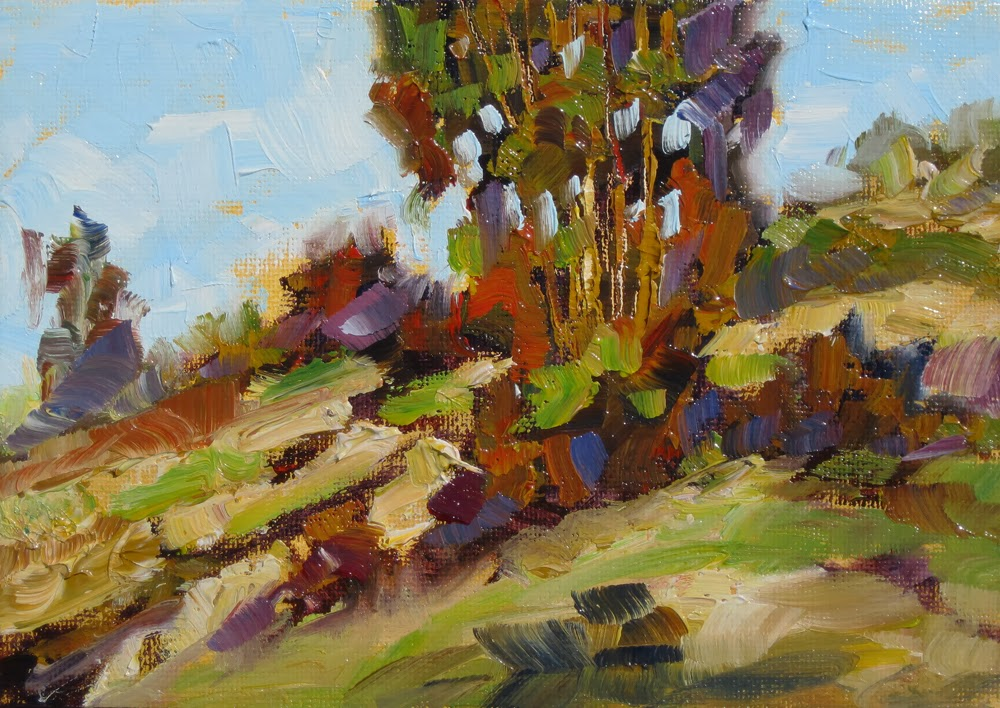 TOM BROWN FINE ART: LANDSCAPE WITH TREES, 7x5 INCH