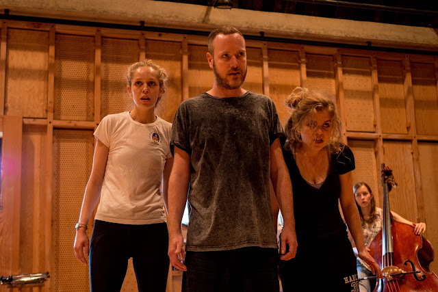 Rehearsal shot taken during the Aldeburgh Music Residency, featuring Louisa Hollway, William McGeough and Héloïse Werner.  Photo: Sam Murray-Sutton