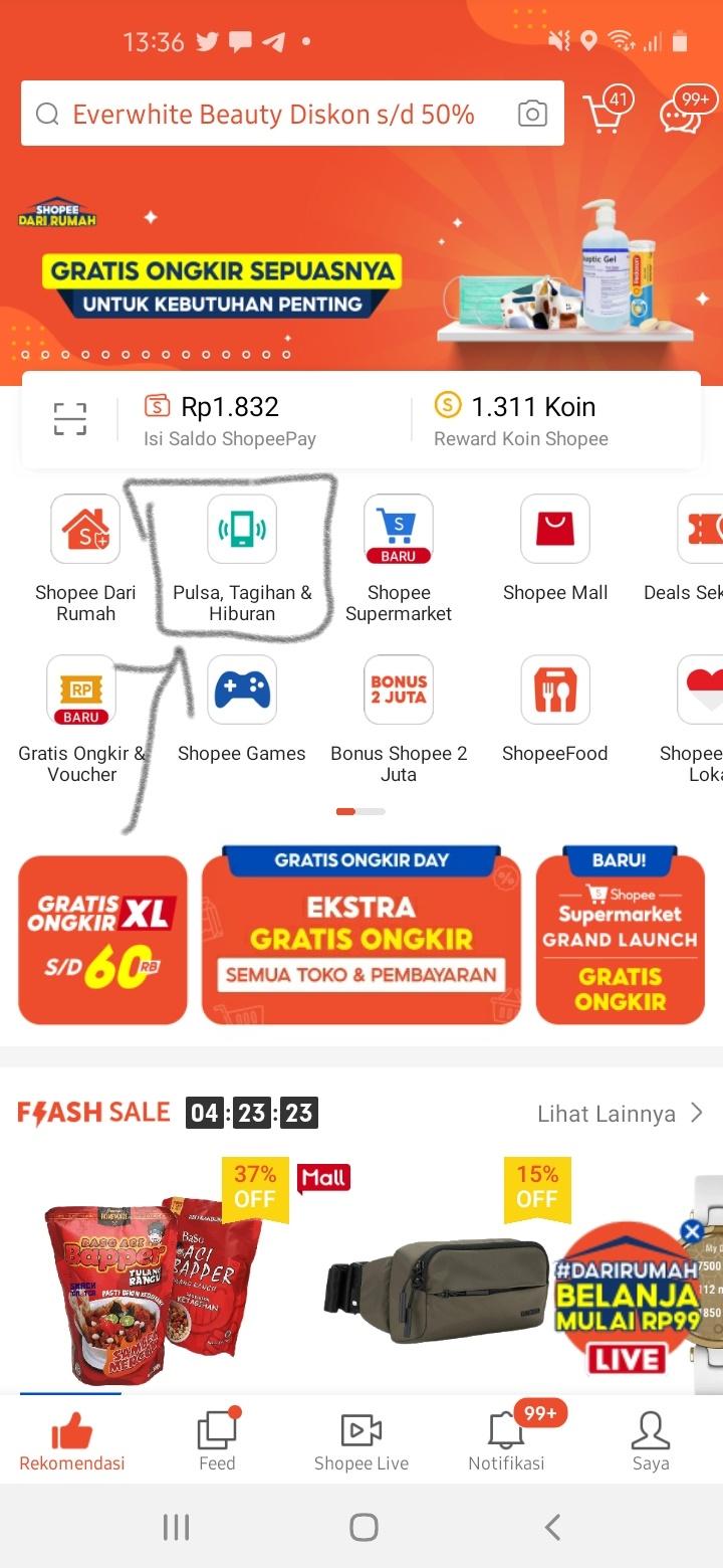 Halaman utama Aplikasi Shopee