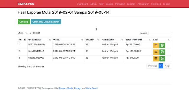 Halaman Module Laporan Aplikasi Simple POS