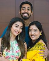 Pooja Hegde with her mother Lata Hegde and brother Rishabh Hegde